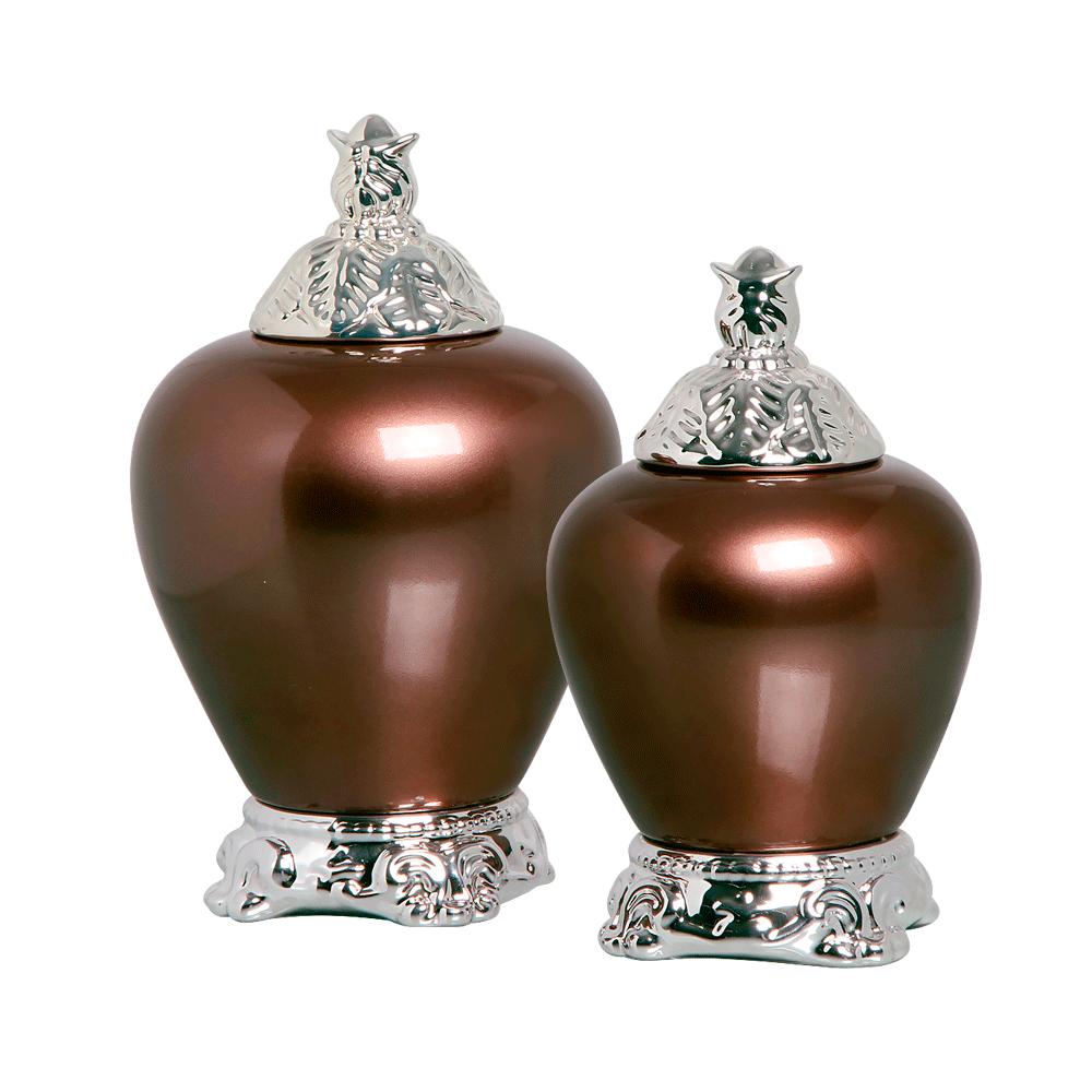 Potiche Pote Cairo G e P com Detalhe Cromado Cerâmica Bronze
