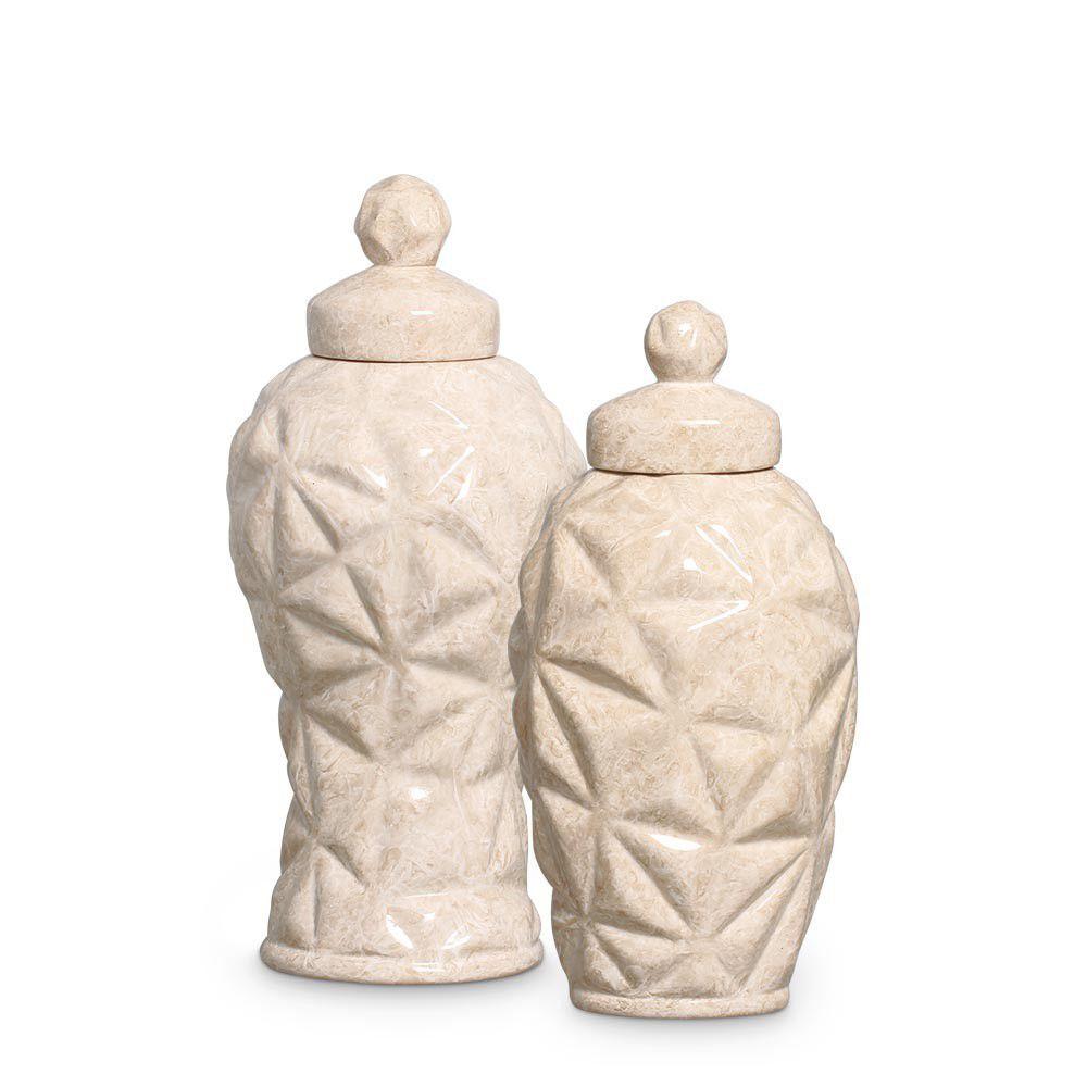 Dupla Pote Diamante Decoração Em Cerâmica Bege Petra
