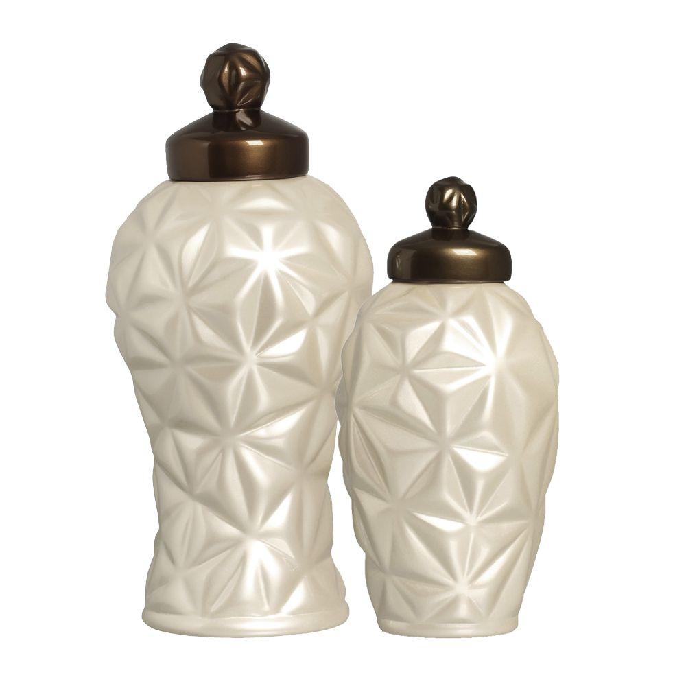 Pote Diamante G E P Decoração Em Cerâmica Fendi Capuccino