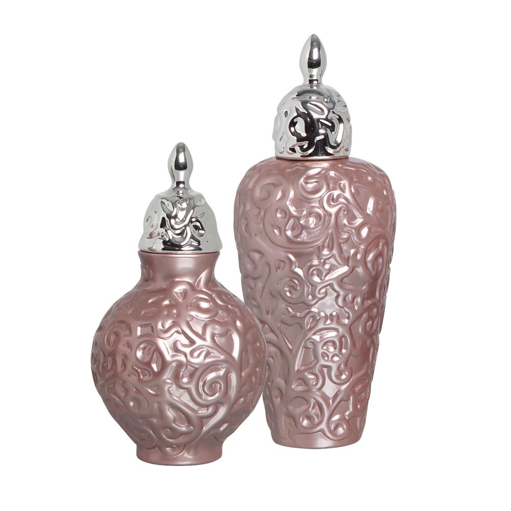 Pote Entrelaços Lilás G E P Kit Com Detalhe Cromado Cerâmica