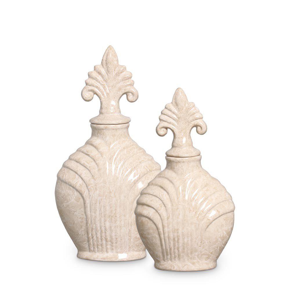 Pote Imperial G E M Bege Decoração Cerâmica Marmorizada Petra