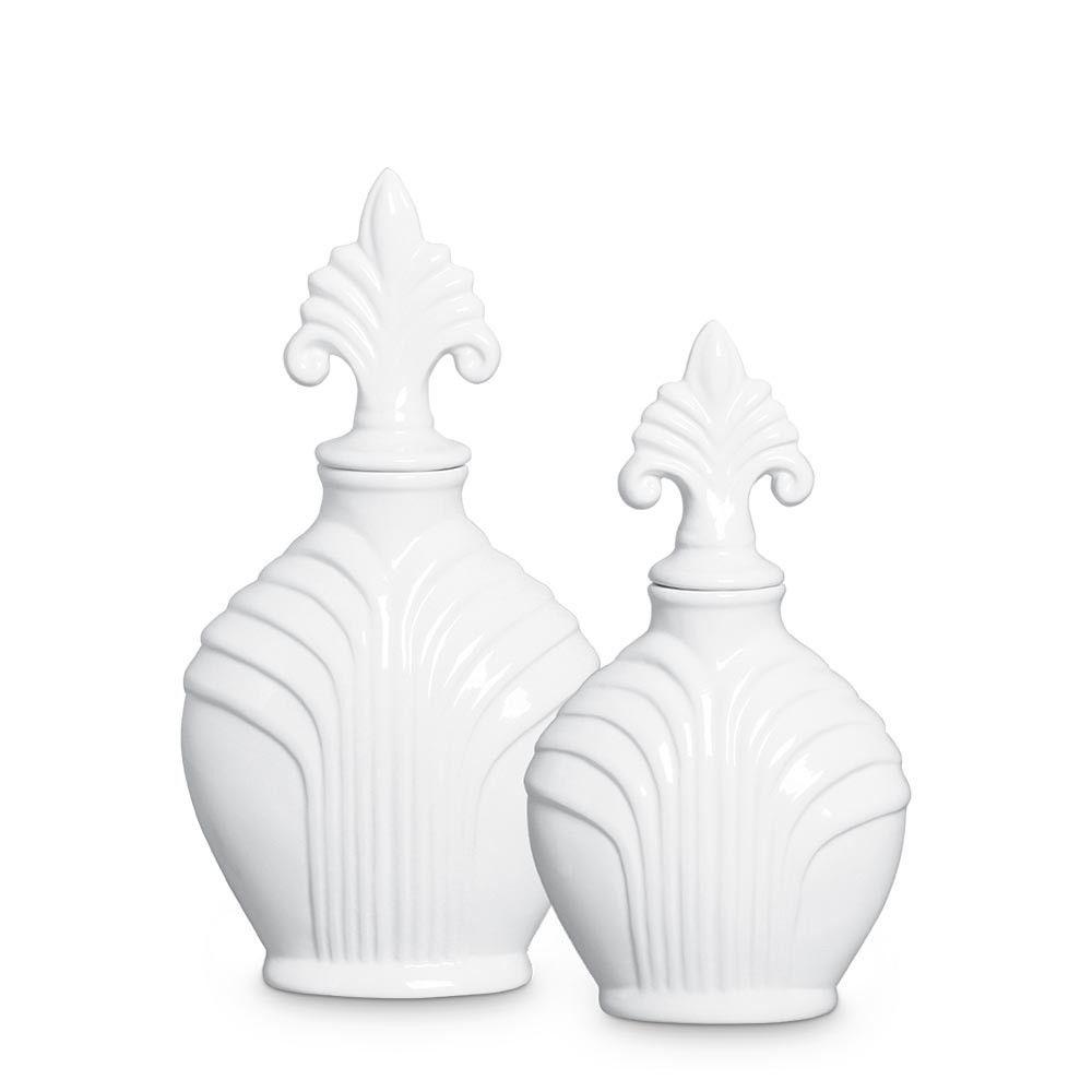 Dupla Pote Imperial Decoração Em Cerâmica Clássica Branca