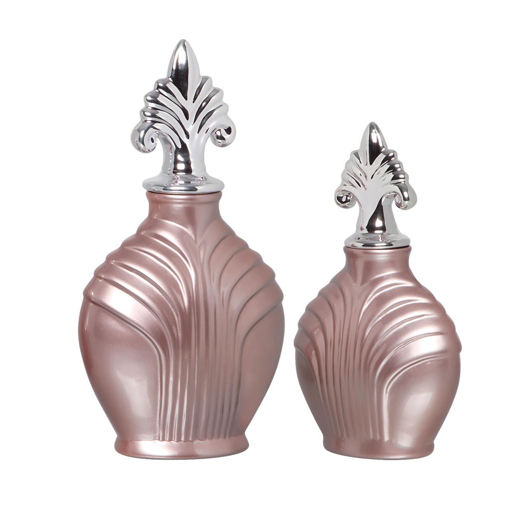 Pote Imperial G E P Kit Com Detalhe Cromado Cerâmica Lilás