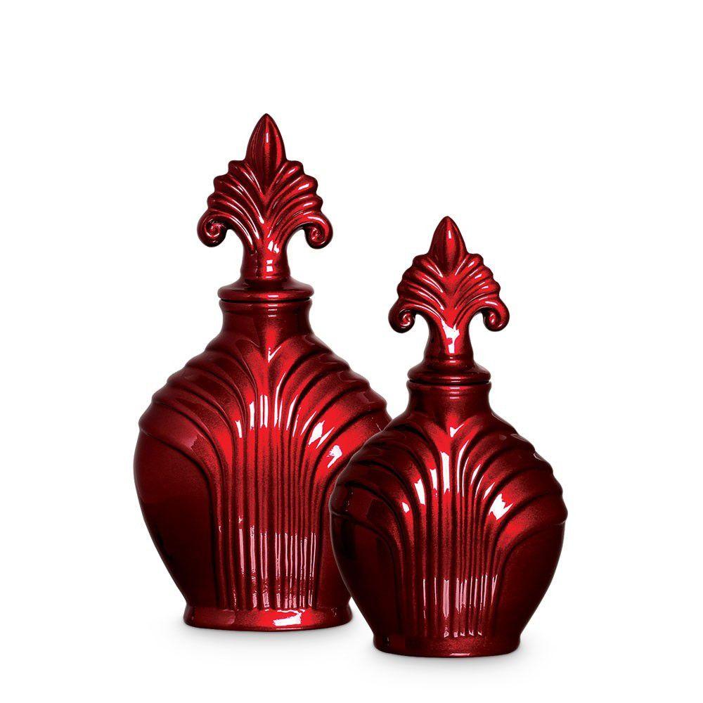Pote Imperial G E P Enfeite De Mesa Cerâmica Vinho Scarlet