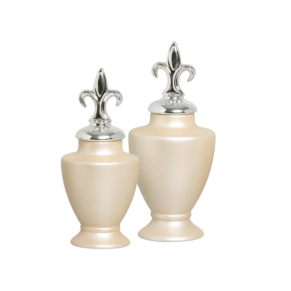 Enfeite De Mesa Pote Lírio Cerâmica Creme Com Tampa Cromada