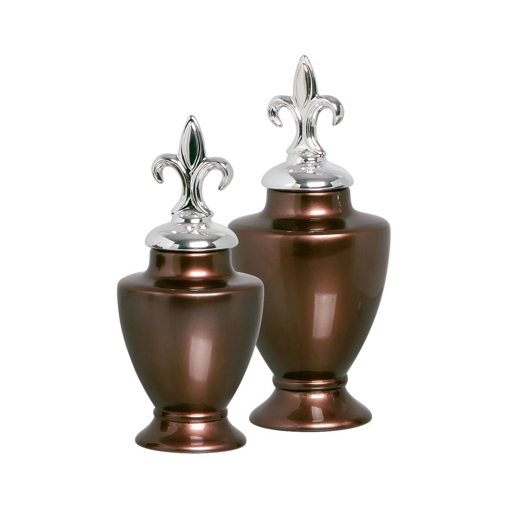 Dupla Pote Lírio Com Detalhe Cromado Cerâmica Bronze