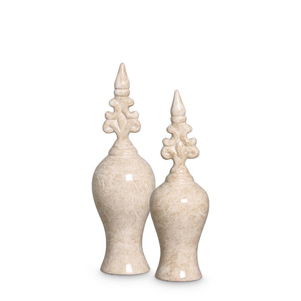 Dupla Pote Realce Bege Decoração Em Cerâmica Marmorizada Petra