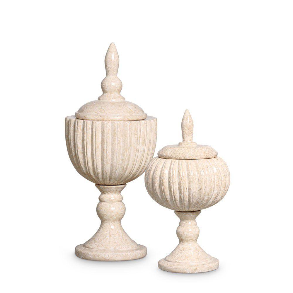 Pote Requinte Bege G E P Kit Decoração Em Cerâmica Petra