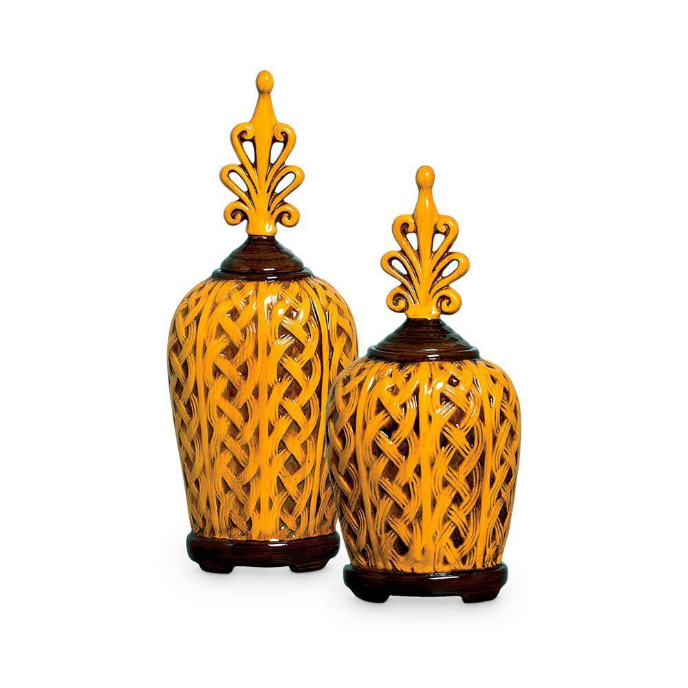 Dupla Pote Trançado Decoração Cerâmica