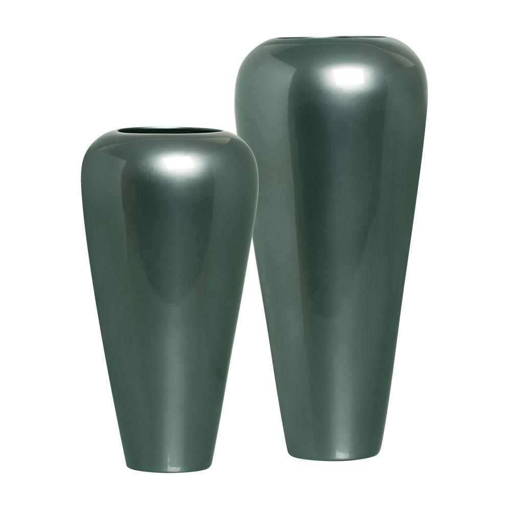 Dupla Vaso Atlanta Decoração em Cerâmica Verde Perolado