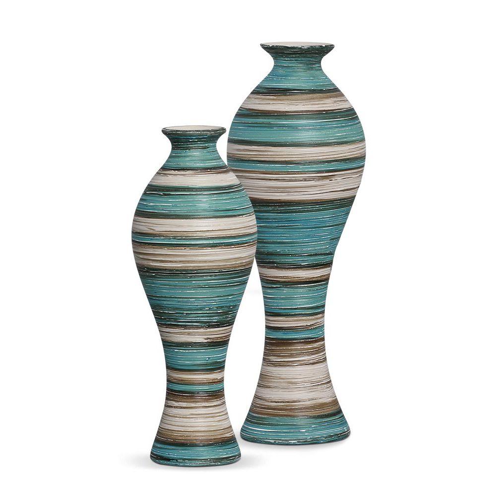 Dupla Vaso Califórnia G E M Cerâmica Azul e Palha Marrakesh