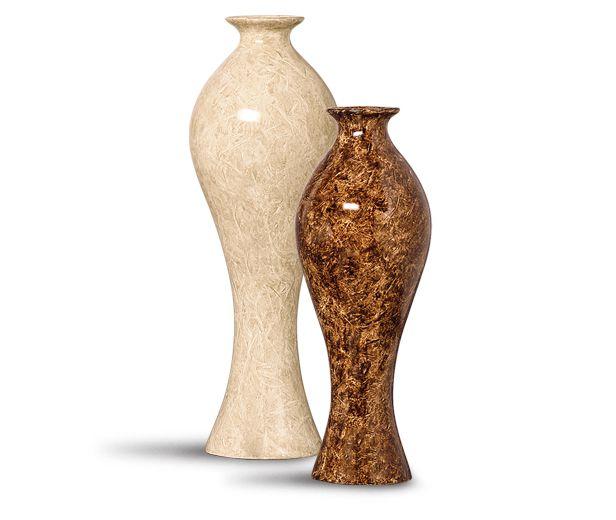Dupla Vaso Califórnia G E M Decoração Cerâmica Bege E Marrom Petra