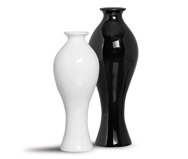 Dupla Vaso Califórnia P e M Cerâmica Clássica Preta e Branca