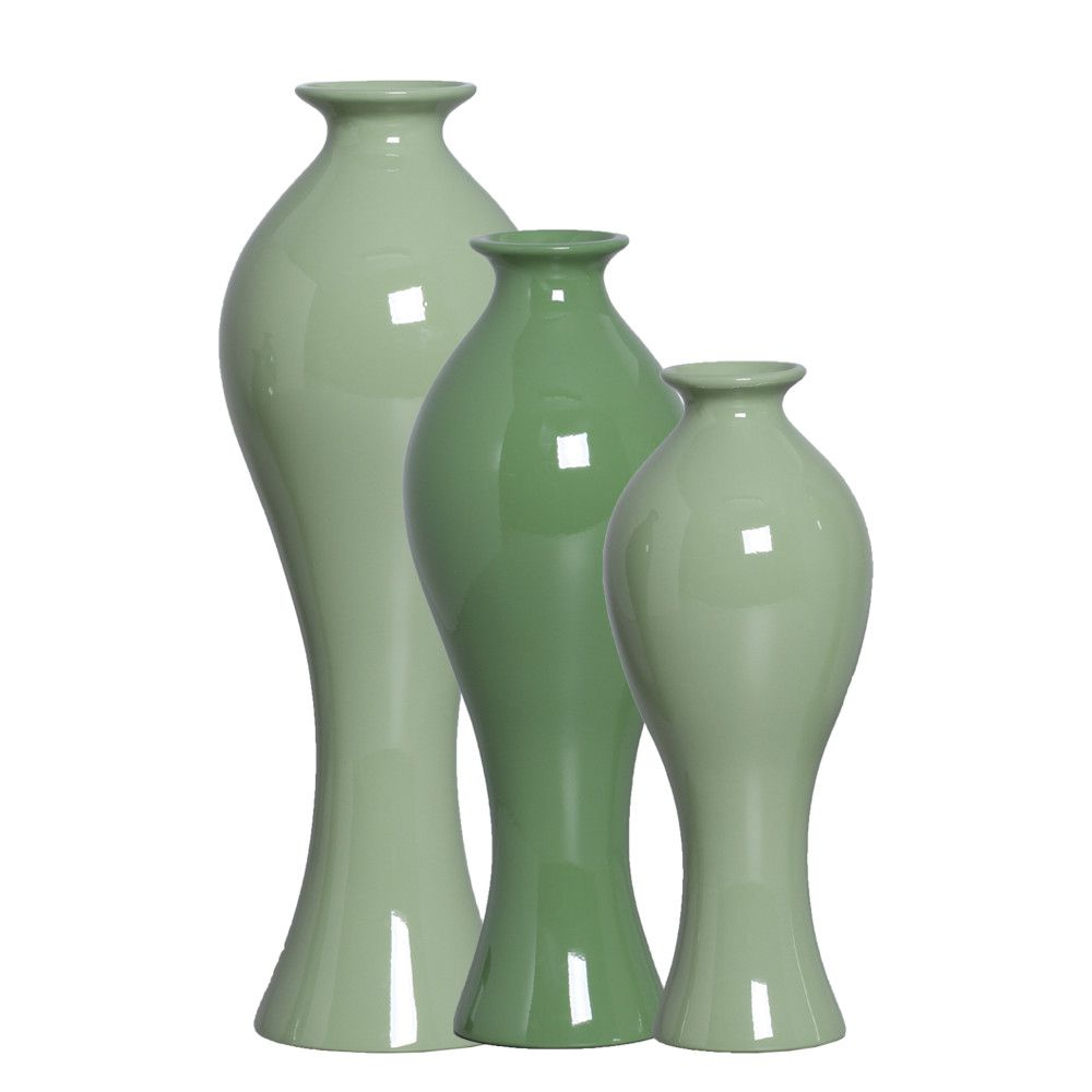 Trio Vaso Califórnia Decoração Em Cerâmica Verde Brilhante