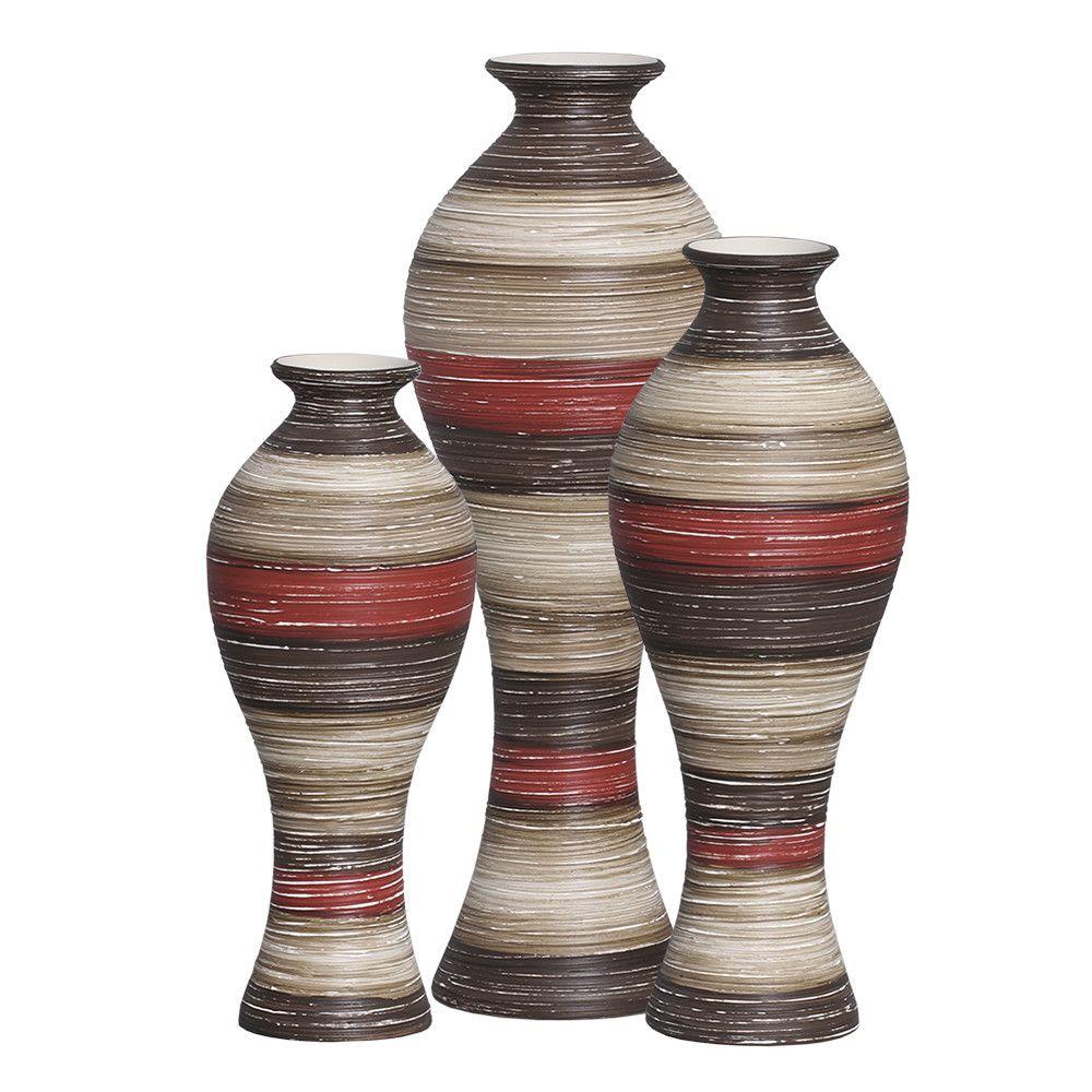 Vasos Califórnia Trio Decoração Cerâmica Vermelho e Marrom