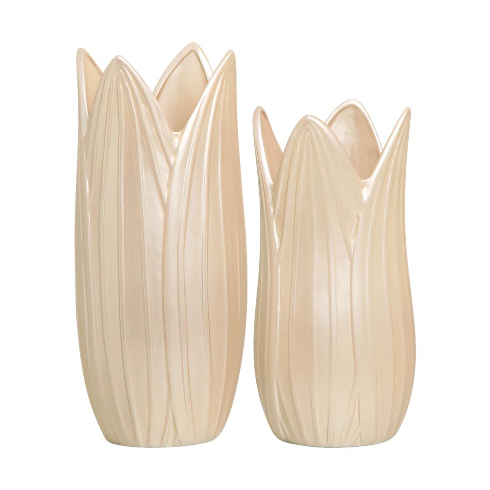 Vaso Decorativo Folha Enfeite de Mesa Cerâmica Creme