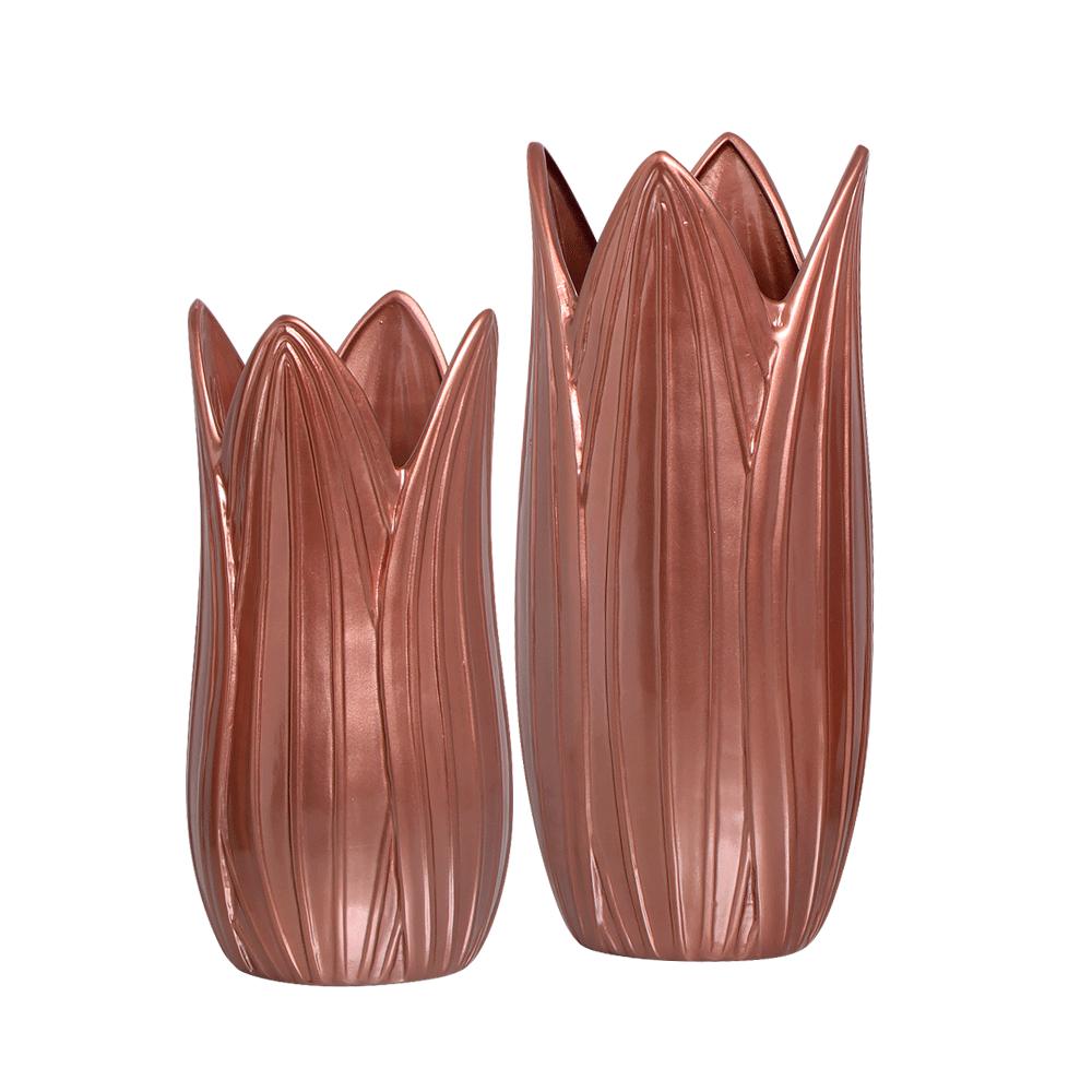 Vaso Decorativo Folha G e P Enfeite Cerâmica Rosé Gold