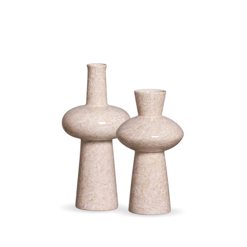 Dupla Vaso Fênix Bege Decoração Em Cerâmica Marmorizado Petra