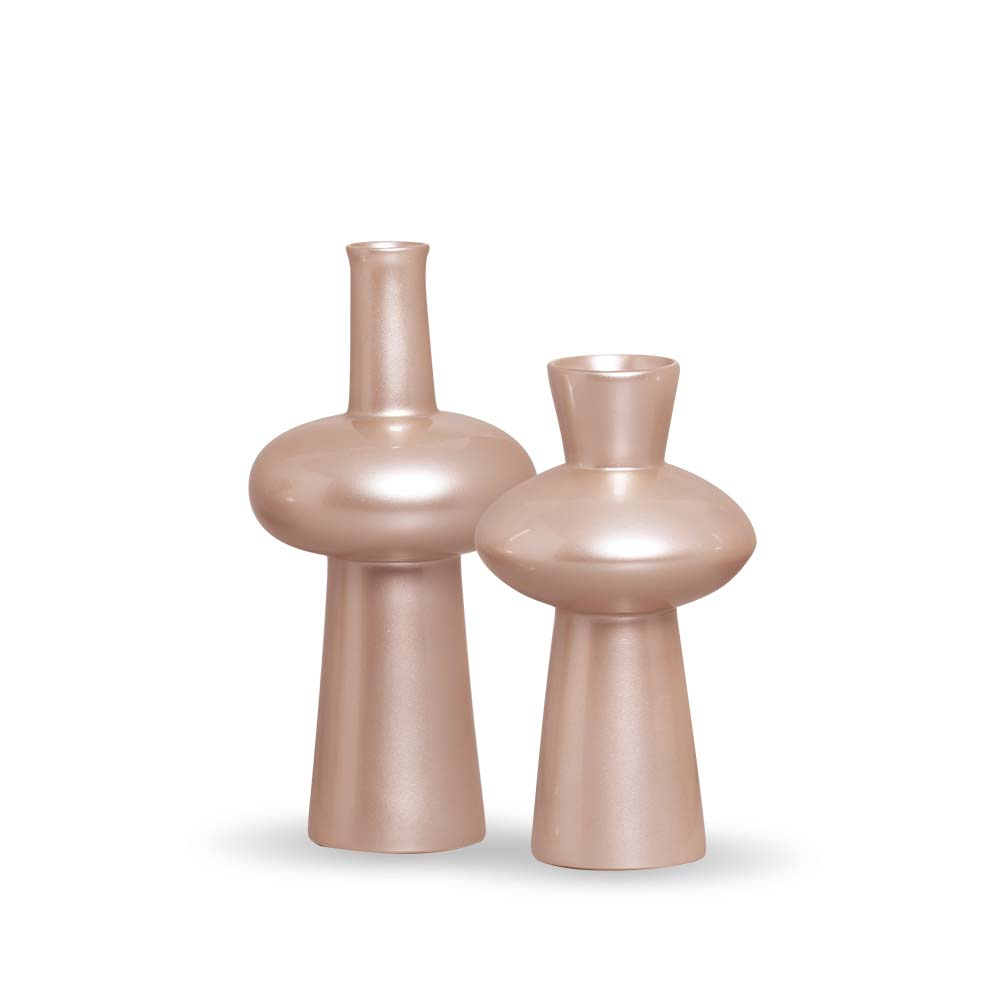 Dupla Vaso Fênix Decoração Em Cerâmica Rosé
