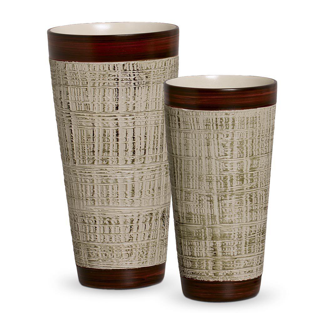 Dupla Vaso Firenze Decoração Em Cerâmica Bege e Palha Ganash