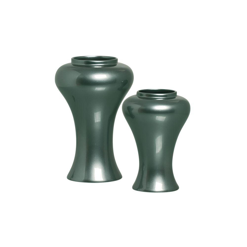 Dupla Vaso Garden Decoração Em Cerâmica Verde Perolado