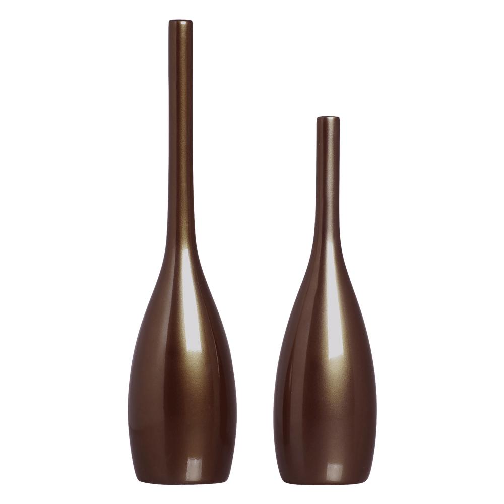 Dupla Vaso Garrafa Tulipa Enfeite Decoração Bronze