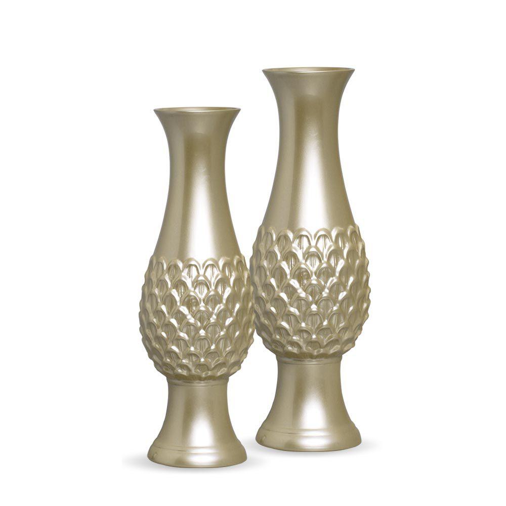 Dupla Vaso Indaiá Decoração Em Cerâmica Fendi Chrome