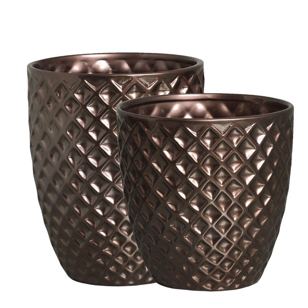 Vaso Mônaco Enfeite G E P Decoração Em Cerâmica Bronze