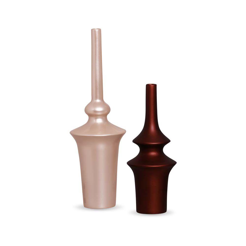 Dupla Vaso Oriental Decoração Em Cerâmica Rose e Sensation