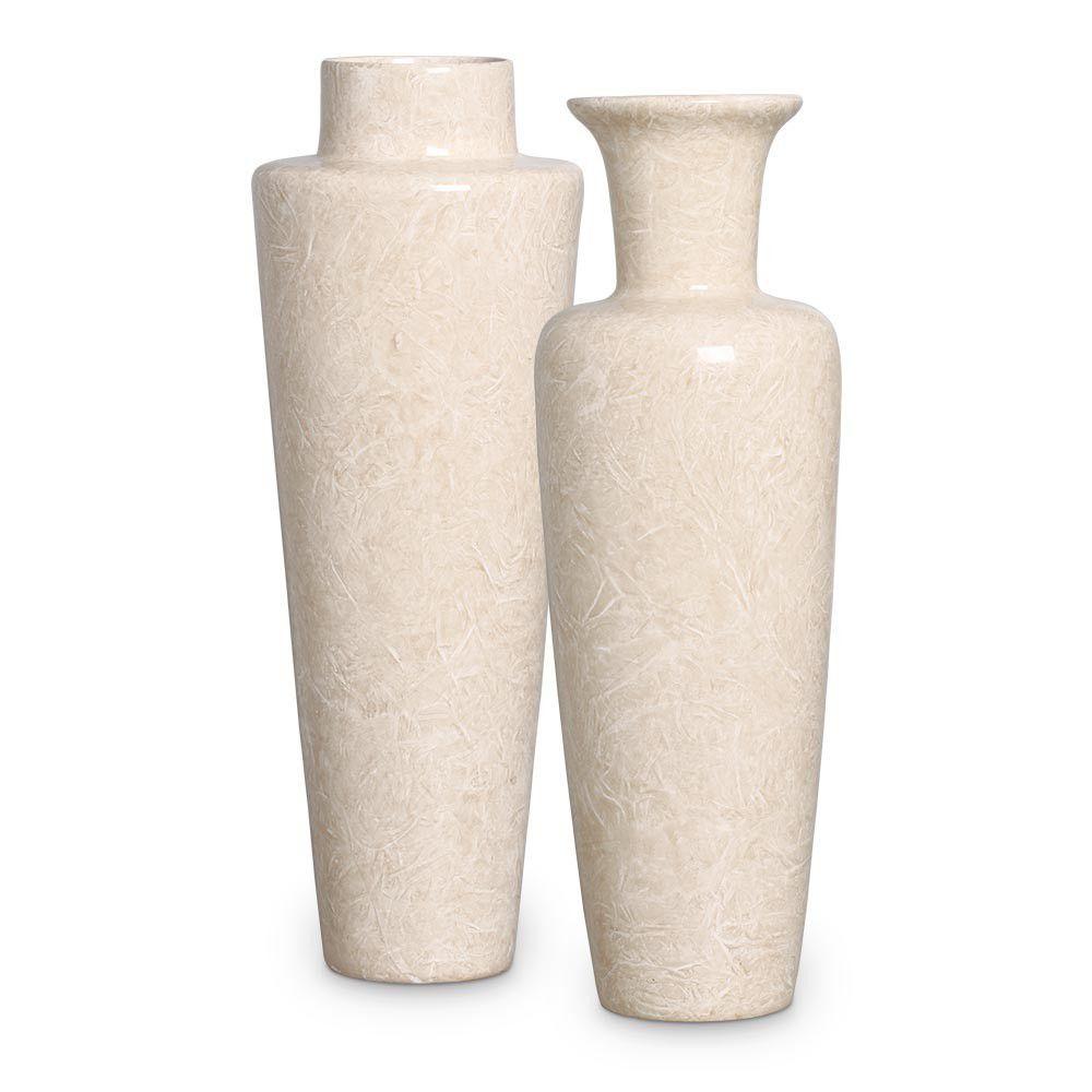 Dupla Vaso Paris e Madri Decoração Em Cerâmica Bege Petra