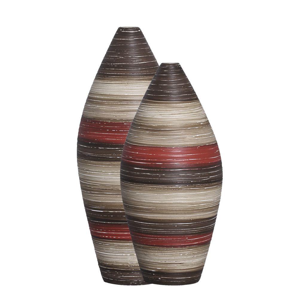 Vaso Sírio Decoração Cerâmica Vermelho e Marrom Terracota