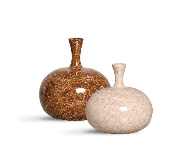 Dupla Vaso Turim Decoração Cerâmica Marrom Petra