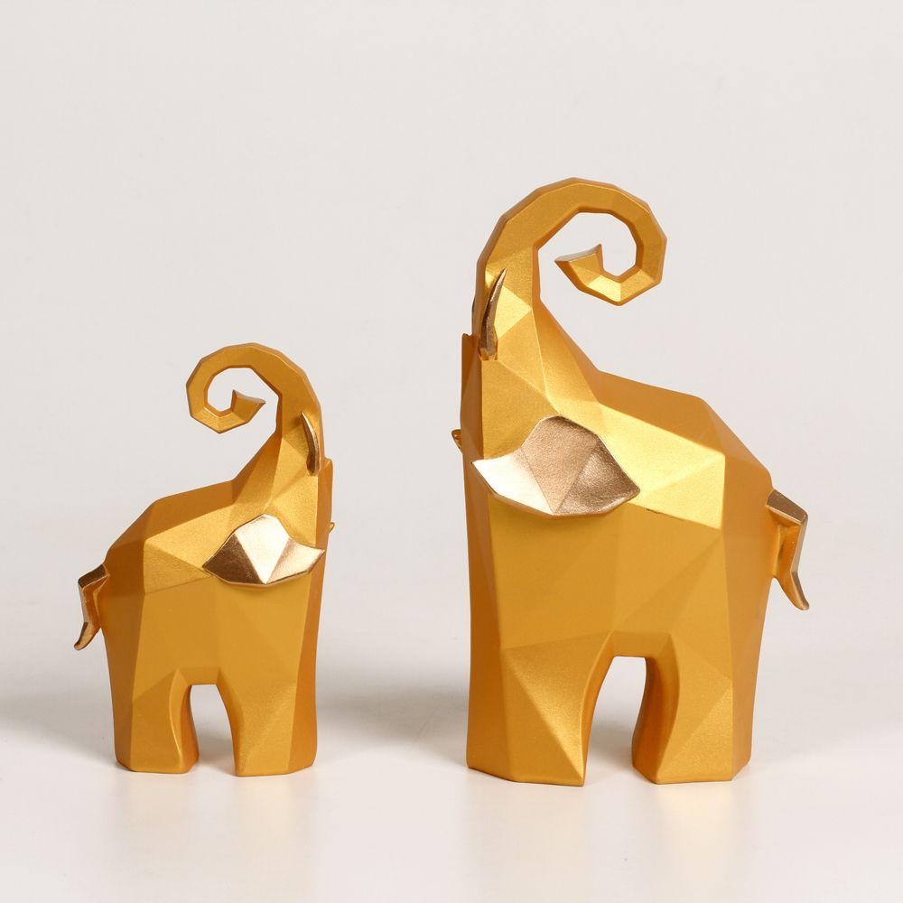 Casal De Elefantes Em Resina Dourados Decoração Low Poly