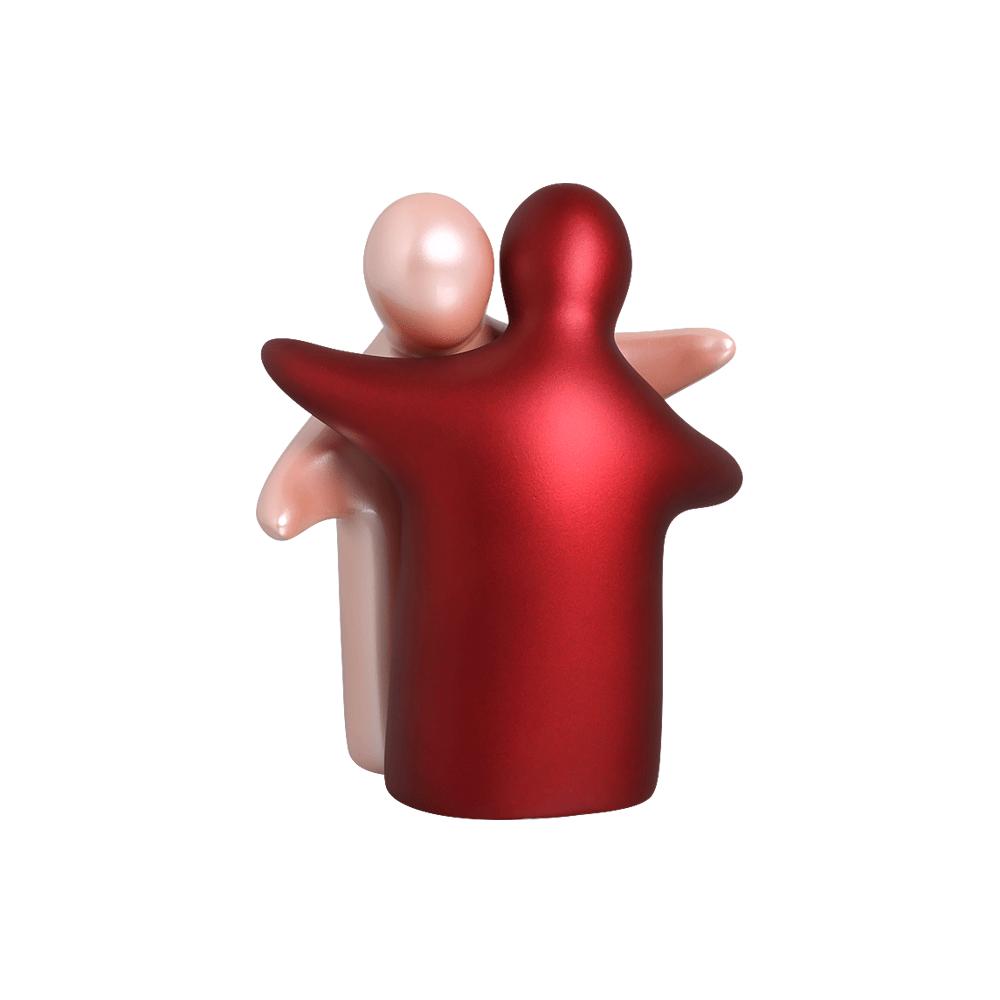Enfeite De Mesa Abraço Enamorados Cerâmica Rosa E Vinho