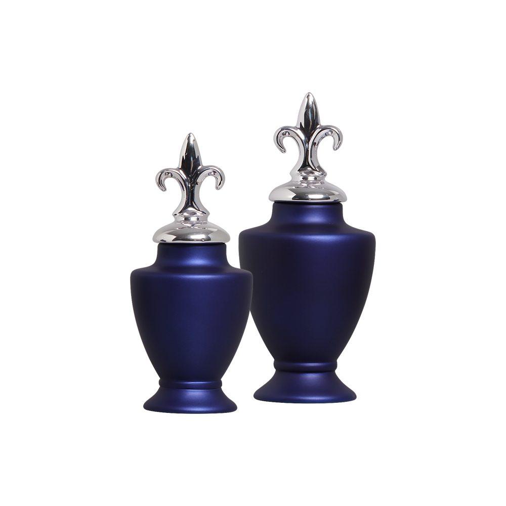 Enfeite De Mesa Pote Lírio Cerâmica Azul Com Tampa Cromada
