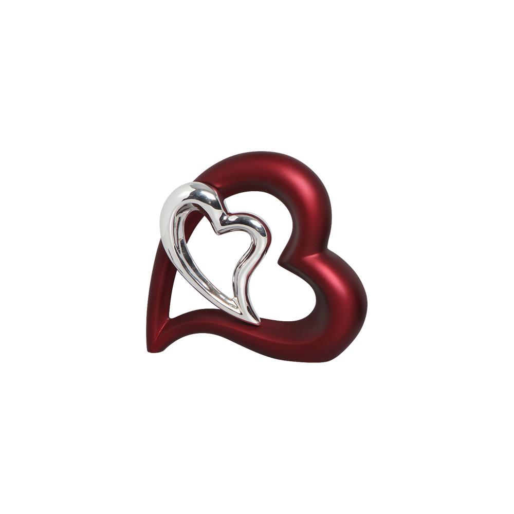 Escultura Decorativa Coração Vinho e Cromado Sensation