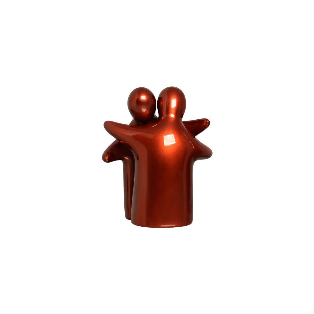 Escultura Abraço Enamorados Decoração Em Cerâmica Cobre Coral