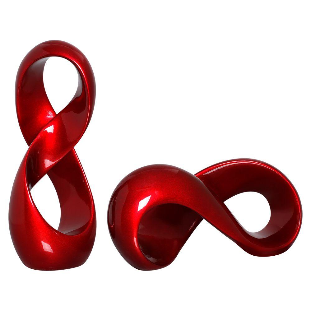 Escultura Infinito Enfeite Moderno Decoração Vinho Scarlet