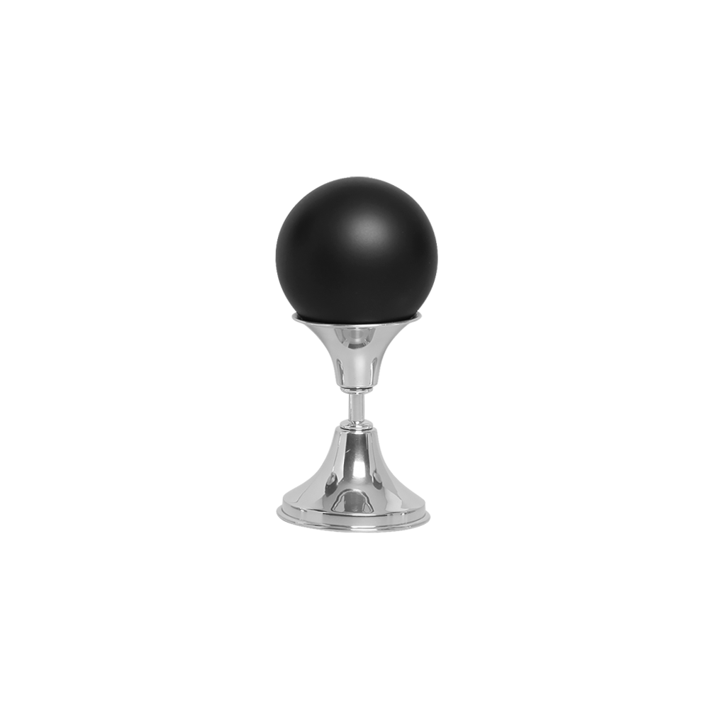 Esfera P Com Pedestal De Alumínio Cerâmica Preto Fosco
