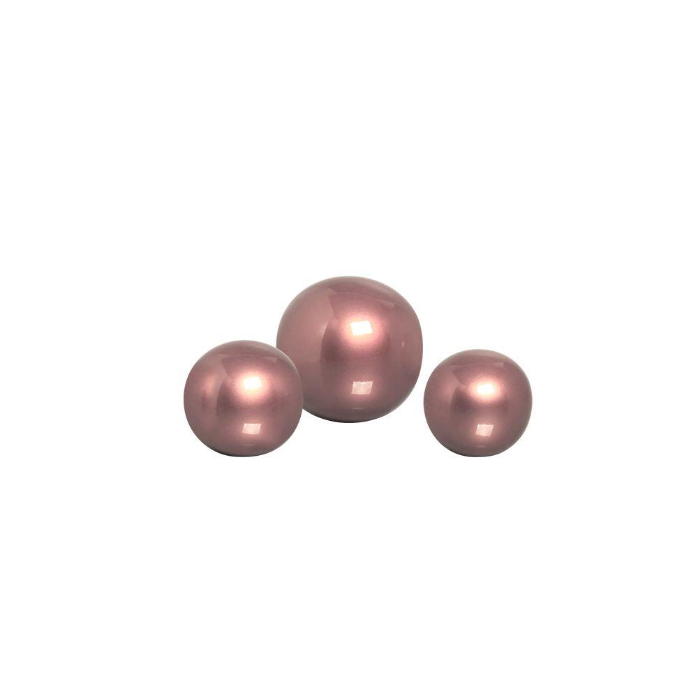 Esferas Enfeite de Mesa Trio Decoração Cerâmica Rosé Gold