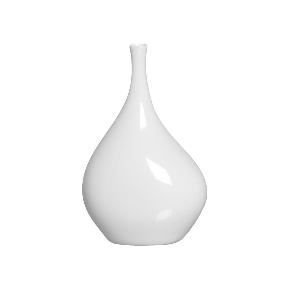 Vaso de Cerâmica Decoração Sala e Quarto Cristal G Branco Clássico