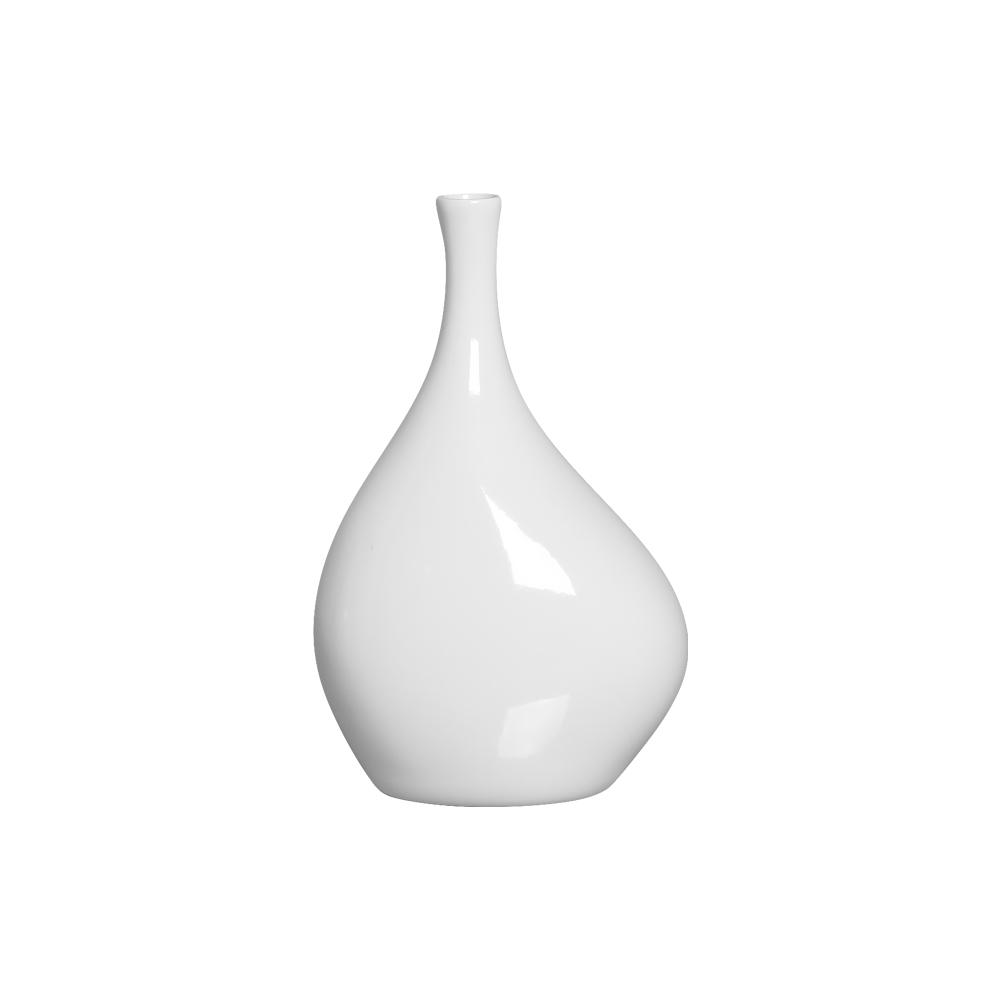 Garrafa Cristal P Enfeite de Cerâmica Branco Luxo