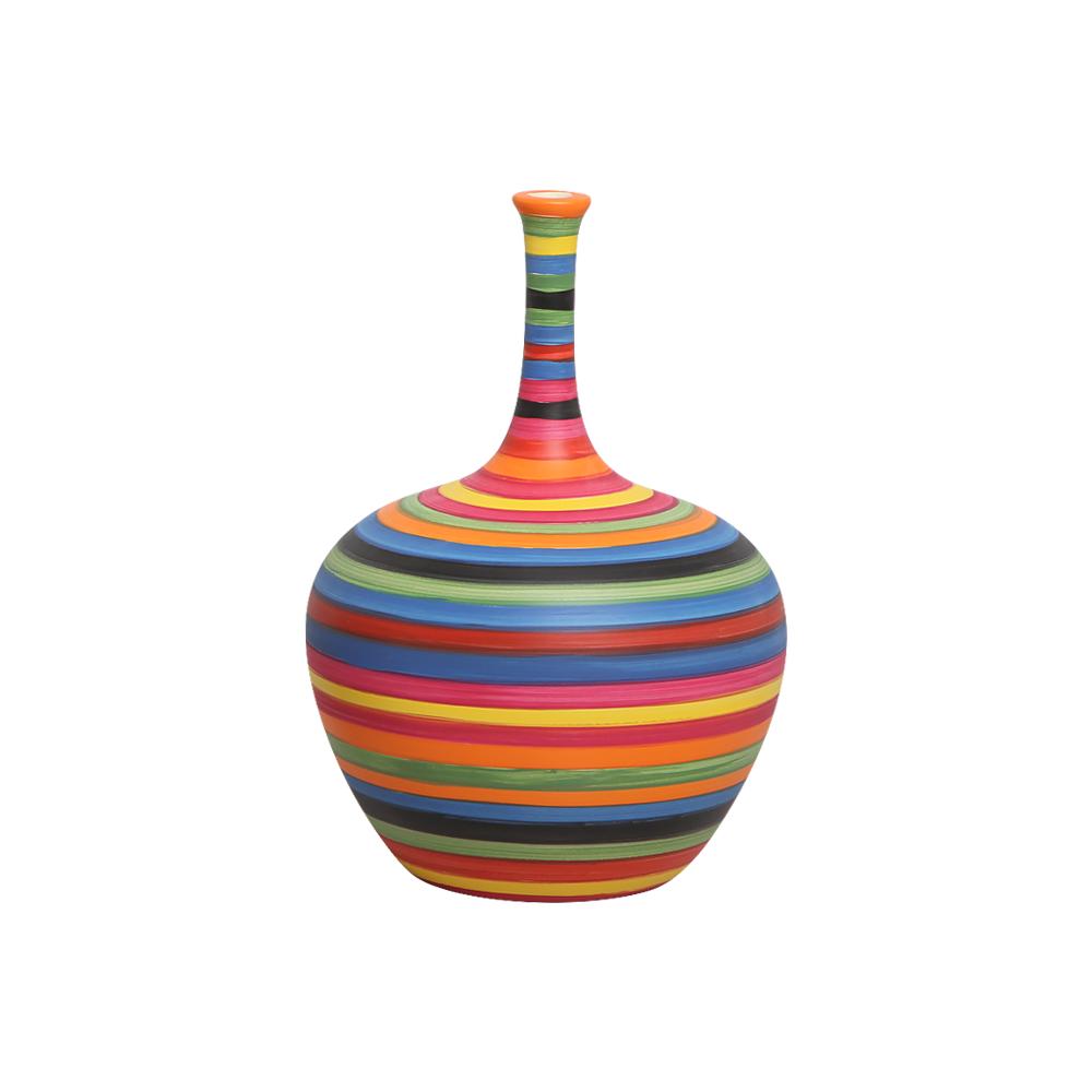 Garrafa Colorida Lira P Decoração em Cerâmica Colors