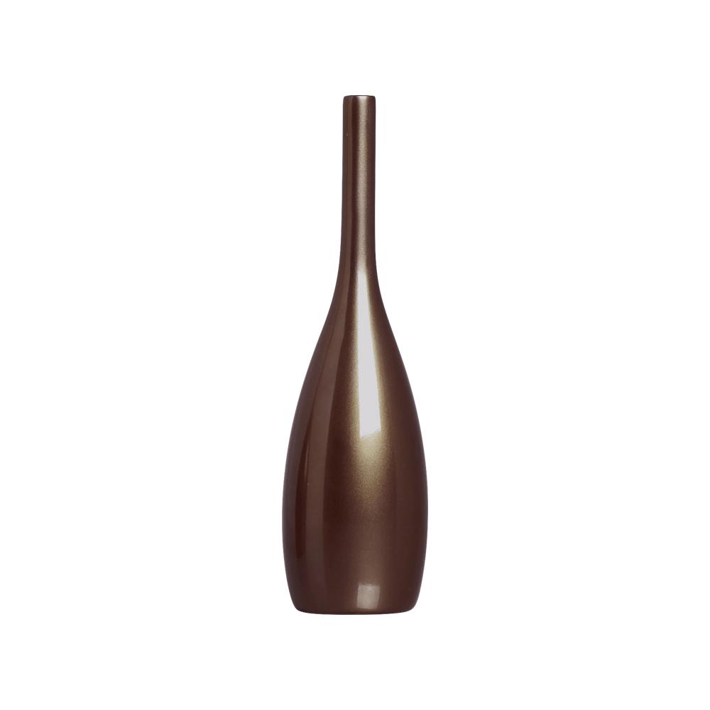 Garrafa Decorativa Tulipa P Enfeite Cerâmica Bronze Perolado