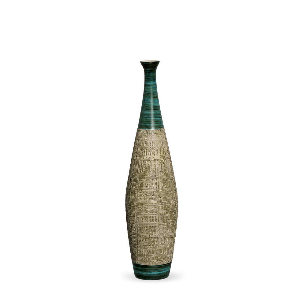 Garrafa Faenza P Decoração Em Cerâmica Verde e Palha Dubai