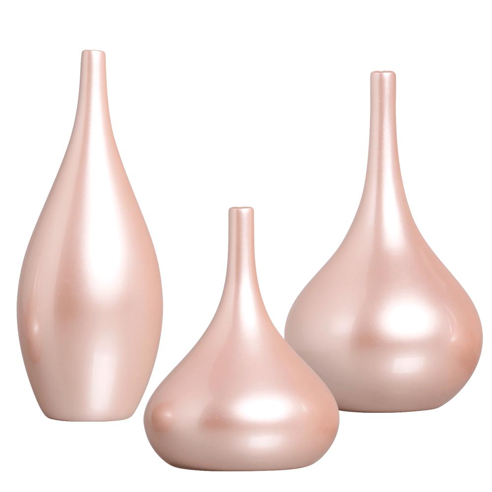 Garrafa Jasmim Trio Decoração Em Cerâmica Rosa Perolado