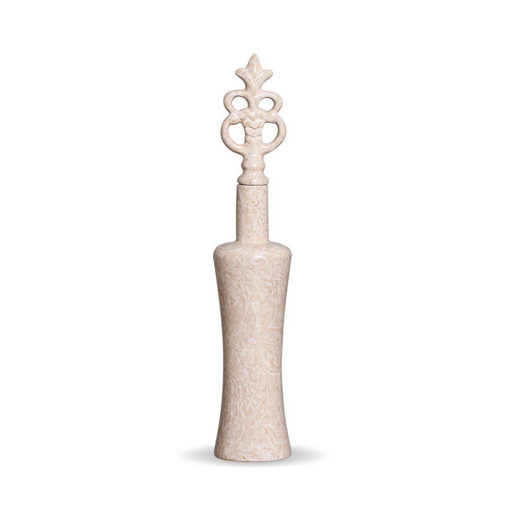 Garrafa Lins G Decoração Em Cerâmica Bege Petra