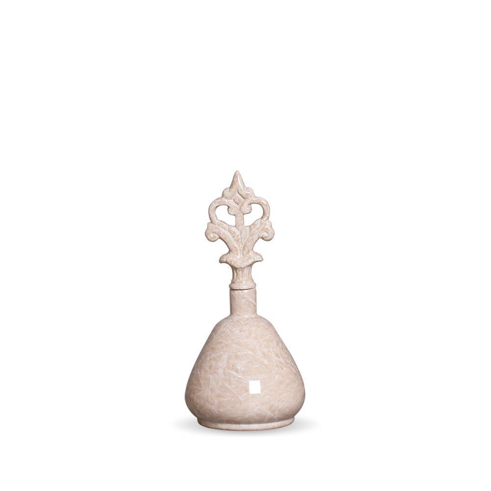 Garrafa Lins P Decoração Em Cerâmica Bege Marmorizado Petra