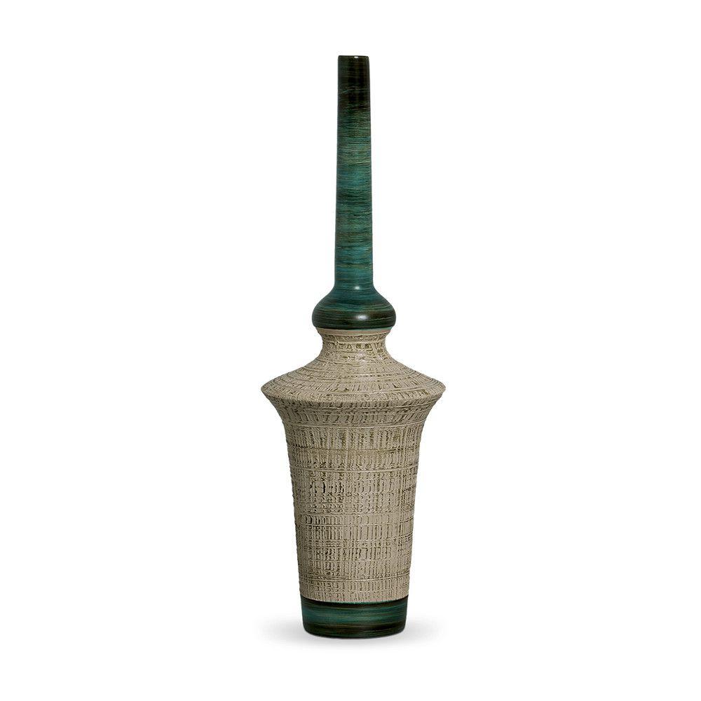 Garrafa Oriental G Decoração Em Cerâmica Verde E Palha Dubai