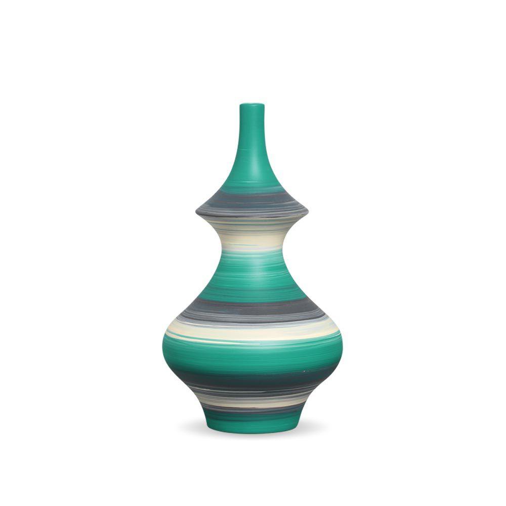 Garrafa Oriental Médio Decoração Cerâmica Blume